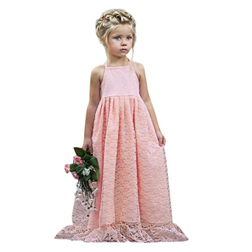 Lazzboy Kid Girls Lace Flower Backless Strap Princess Party Formal Dress