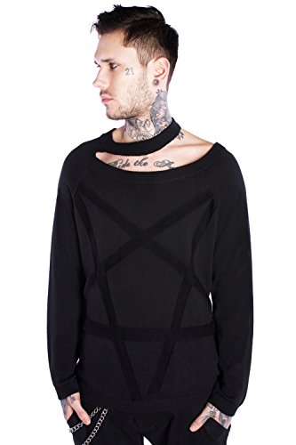 Disturbia Clothing -  Maglione  - Basic - Maniche lunghe  - Uomo nero Medium