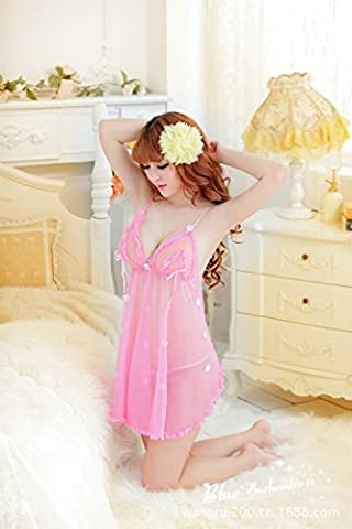 SMSM Sexy Lingerie Extreme Versuchung Transparente Harness Nightgown Sexy Pyjamas Spitze Hot Suit Frauen,Rosa