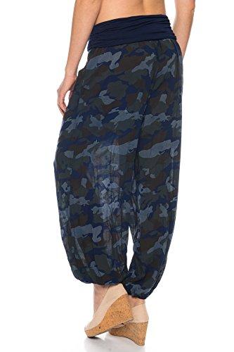Crazy Age Haremhose Aladdinhose Pumphose in Camouflage Farben Unigröße Blau