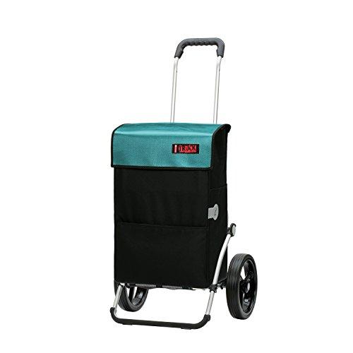 Andersen Einkaufstrolley Royal & Einkaufstasche Joy schwarz mit Kühlfach & Wechseldeckel Glasfaser türkis | Trolley Aluminiumgestell