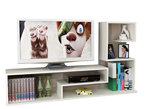 Wohnwand DUCHESS - Weiß / Avola - TV Lowboard mit Regale / Wandboard in modernem Design