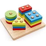 Children 's educational toys four sets of geometric shapes pillars building blocks