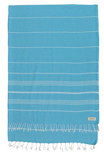 Bersuse 100% cotone - asciugamano coperta turco xl anatolia - coperta multiuso per letto o divano, tovaglia o tappeto da picnic - peshtemal fouta per bagno e spiaggia - pestemal classico striato - 155 x 210 cm, turchese
