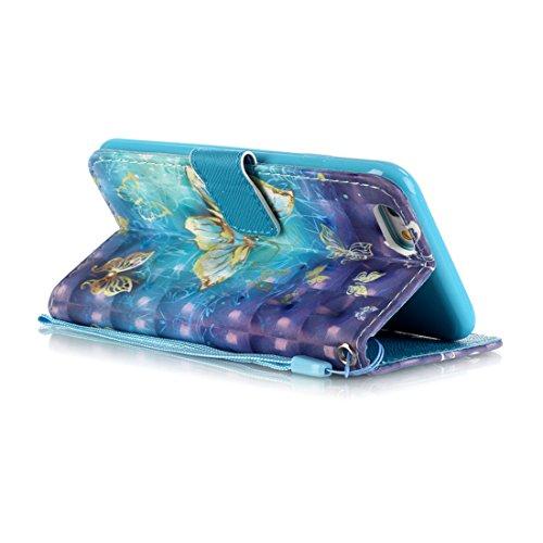 Lotuslnn iPhone 6 Plus / iPhone 6s Plus (5.5 Pouces) Coque Girafe, Bleu,Dessin coloré Flip Wallet Cuir Etui Housse Case Cover pour iPhone 6 Plus / 6s Plus -(Coque+ Stylus Stift+Screen Protector) Papillon