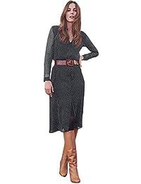 M Robe De Soiree Femme Chic Elegante Cérémonie Mousseline Point Noire Robes  Femme Ete 2019 Fluide Manche Longue Col V… 257589015c6