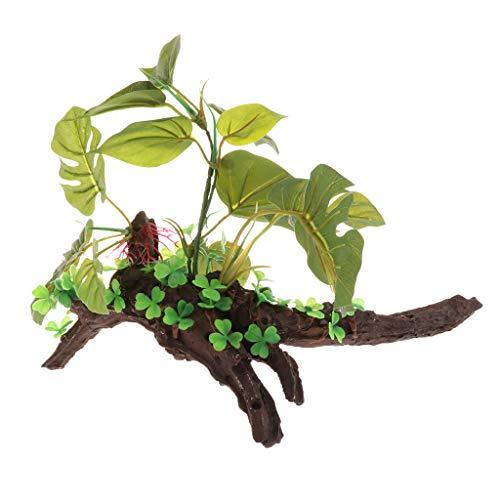 Homyl Kunststoff Wurzel mit Pflanze für Aquarien und Terrarien - Typ 1