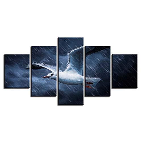 Yhnmlp Wand Kunst Bilder Modulare Wohnkultur HD Drucke 5 stücke Seagull In Die Regnerischen Nacht Leinwand Malerei Tiere Poster gerahmte,30x40 30x60 30x80cm