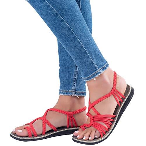 ORANDESIGNE Damen Geflochtene Sandalen Sommer Gladiator Schuhe Casual Flachen Flip Flops Strand Zehentrenner Sandalen Rot EU 37
