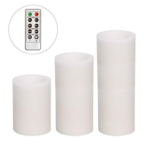 Dar U Canldes Juego con Control de Romote superficie lisa vela color blanco 3x 4/6/8cm 3unidades