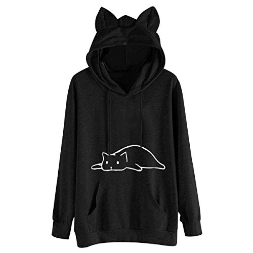 Spring Autumn Cat Ear Hoodies for Women Girls Solid Long Sleeve Cat Printed Pockets Top Blouse Sweatshirt Loose Hoody Black M
