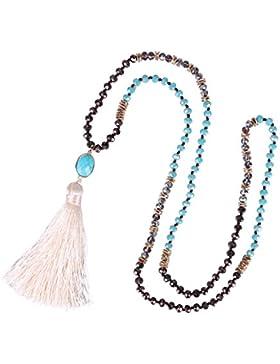 KELITCH Boho Quaste Anhänger Halskette Glas Kristall Perlen Kette mit Halbedelsteine