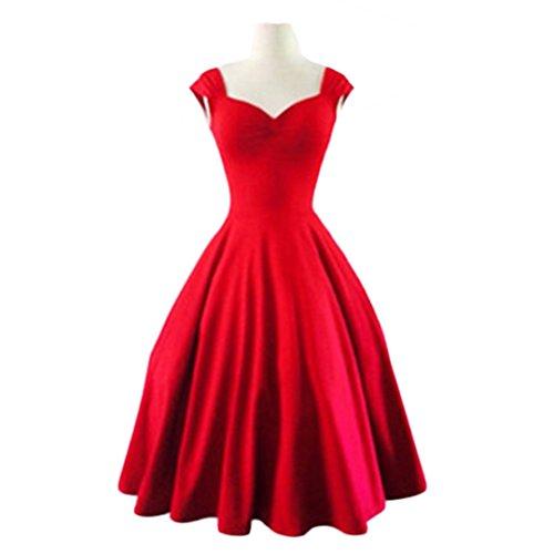 JOTHIN Hot Hepburn Retro-Stil großer Rock Normallack des Kragens Tutu Kleid Rot
