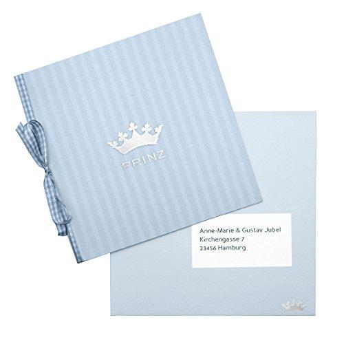 15 Geburtskarten Prinz - blau mit silbernem Krönchen und Satinband - Babykarten Geburtsanzeige oder Taufeinladung - zum einfachen Selbstbedrucken