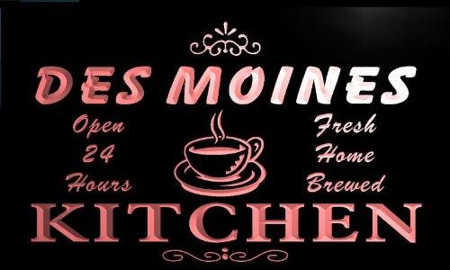 pc2156-r Des Moines Home Kitchen Open Bar Beer Neon Light Sign Barlicht Neonlicht Lichtwerbung (Des Moines R)