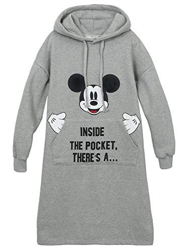 ililily Disney Mickey Casual Long Sleeve Hoodie Tunic Cotton Front Pocket Dress