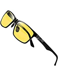 DUCO Mens Classic Rectangular Polarized Night-vision Anti-glare Driving Eyewear Glasses with Carbon Fiber Temples 8206 (Black Frame Yellow Lens)