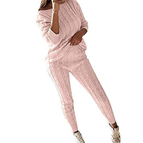 Juleya Frauen Stricken Zweiteilige Sweatsuit U-Ausschnitt Sweatshirt Trainingsanzug Schulterfrei Oversize Pullover Top Lounge Wear Jumper Set schlanke Lange Hosen Set Pullover Stricken Top