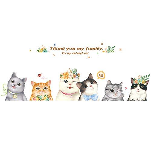 QIA Girly Herz Nette Katze wasserdichte Tapeten Aufkleber PVC Abnehmbare Selbstklebende (2 stücke) -