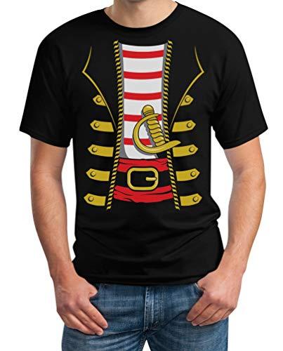Pirat Shirt Kostüm Schwarz - Kostüm Pirat Halloween Herren T-Shirt XXX-Large Schwarz