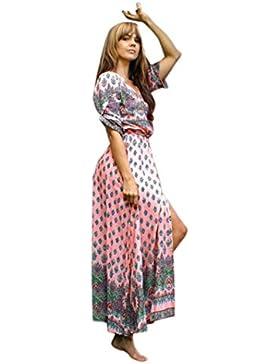 Sannysis Damen Langes Maxi Langarm Kleid V-Ausschnitt Blumen Drucken Strandkleid