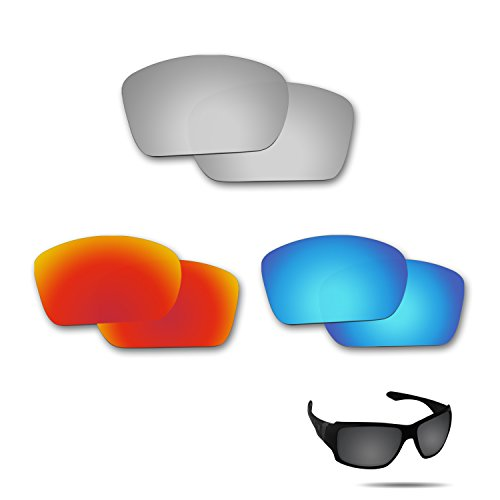 Fiskr Anti-Saltwater Polarisierte Ersatz Gläser für Oakley Big Taco 3 Paar Pack, Metallic Silver & Fire Red & Ice Blue