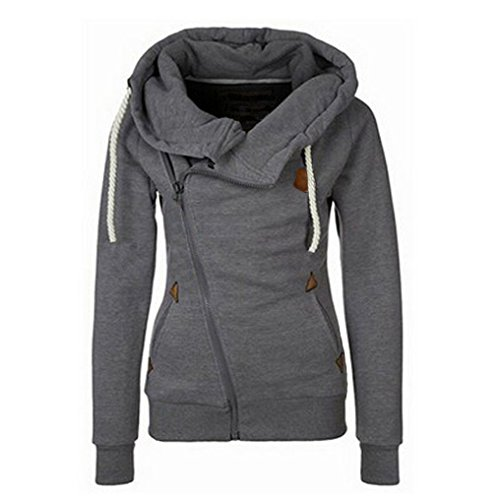 Damen Mädchen Herbst Winter Langarm Kapuzenpullover Hoodie Mantel mit Seitenreißverschluss (EU38(L), Dunkelgrau)