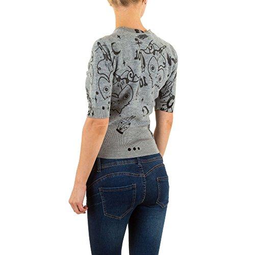 Damen Sweatshirt, WOLLMIX PRINT, KL-22845 Grau