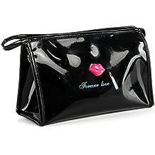Fami Le donne Portable Cosmetic Pouch Case postale toeletta dell'organizzatore di corsa trucco Pochette (nero)
