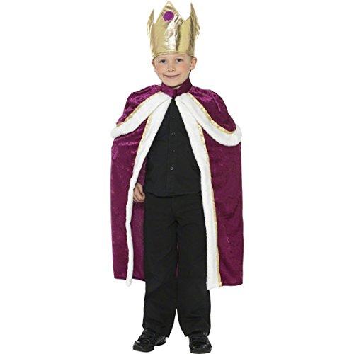 NET TOYS Königskostüm Kinder König Kostüm gold weinrot M 140 cm Königsumhang Kinderkostüm Prinz Prinzenkostüm Märchen