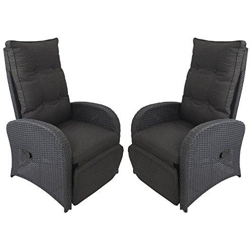 2 Stück Polyrattan Gartensessel Rattansessel Rattanstuhl Relaxsessel Fernsehsessel Loungesessel mit...