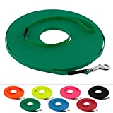 LENNIE Leichte BioThane Schleppleine, 9mm, Hunde bis 5kg, 7m lang, mit Handschlaufe, Smaragdgrün, genäht