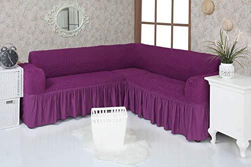Mixibaby Sofabezug Sofahusse Sesselbezug Sitzbezug Sesselüberwurf Stretchhusse 3 2 1, Farbe:violett, Variante:Eck-Sofa