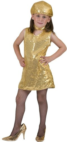 Gold Disco Kleid (Disco Pailetten Kleid Gold)