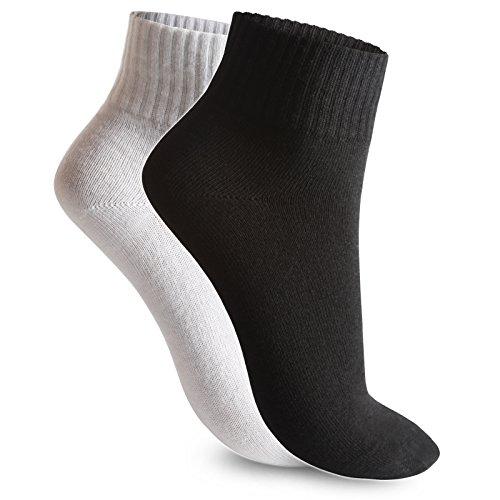 6 / 12 / 24 Paar Socken Sportsocken Tennissocken Kurzsocken Herren Damen Schwarz Weiß Kurzschaft Quarter Socken Baumwolle Größe 35-38 / 39-42 / 43-46 (43-46, 24 paar schwarz) (Baumwolle Socken Herren Quarter)
