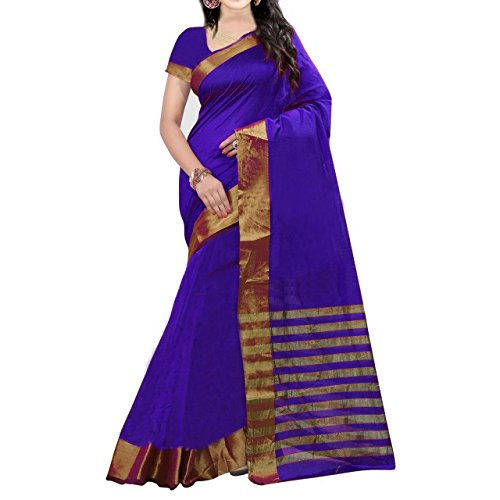 saree (ZHot Fashion present Women's Printed Sarees In Cotton Silk Fabric (ZHSSC2132_unstitched blouse) Blue  available at amazon for Rs.219