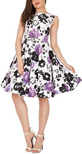 Black Butterfly 'Audrey' Vintage Serenity Kleid im 50er-Jahre-Stil (Weiß & Lila, EUR 52 – 5XL) - 4