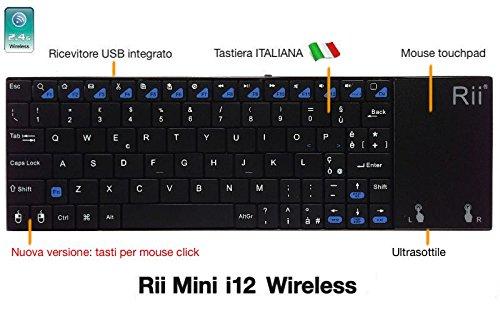 Rii Mini i12 Wireless (layout ITALIANO) - Tastiera wireless ultrasottile con mouse touchpad per Smart TV, Mini PC, HTPC, Console, Computer