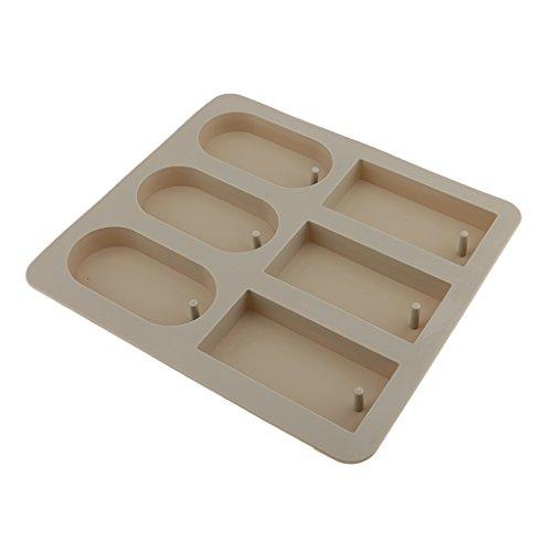 MagiDeal Moule en Silicone Support Bougie Moderne Pour Pâte Polymère Savon Platre Cire - rectangle et rond