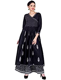 Missprint Women's Hand Block Printed Ball Gown Style Embroidered V-Neck 3/4 Sleeve Angrakha Style Kurta With Palazzo