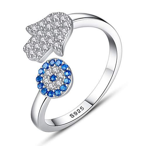 EVBEA Damen Ring Evil Eye Sterling Silber Schmuck Verstellbarer Ring Sapphire CZ Kristall Hamsa Hand