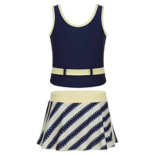 iixpin Mädchen Tankini Set klassisch Bademode Badeanzug Zweiteiler Tops + Rock Badekleid Schwimmanzug Swimming Bikini Hellgelb 176