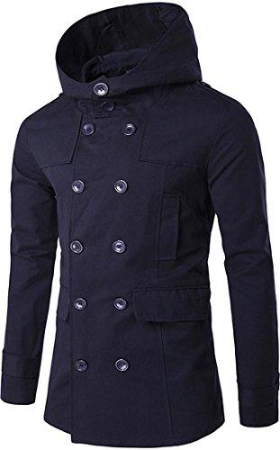 Jeansian L'automne et l'hiver Hommes Manteaux et Blousons Men's Fashion Hooded Jacket Coat Winter Overcoat Tops 9557 Navy