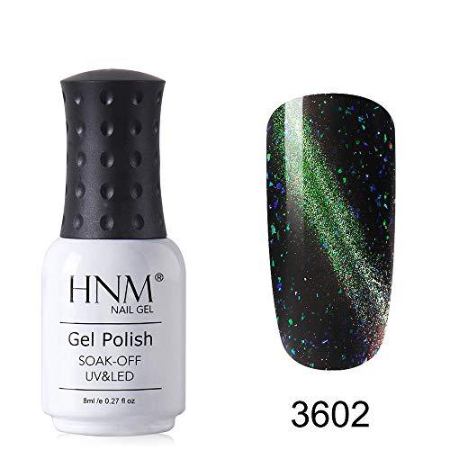 HNM Vernis Semi Permanent Galaxie Gel UV Couelur Magnétique Effet Oeil de Chat Nail Arts Manucure,8ML YHMY-3602