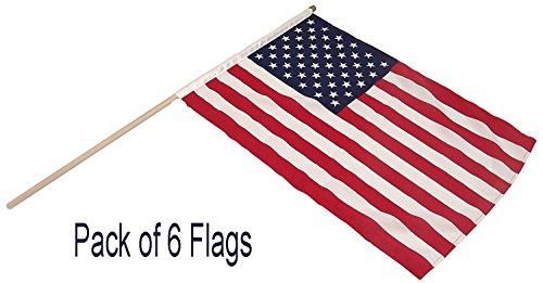 USA Sterne und Streifen Qualität Polyester Hand Flaggen -, 6Stück American 4. Juli Independence Day Celebration Flaggen -, Größe 22,9x 15,2cm mit 30,5cm Holz Stick -