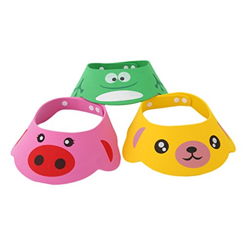 lalang-baby-kids-children-shampoo-bath-hat-shower-cartoon-adjustable-cap-wash-hair-shield-hat-green