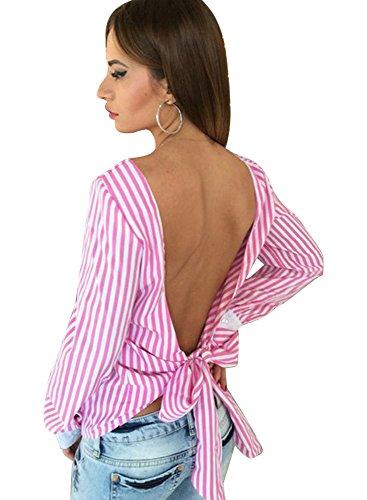 Mangotree Damen Reizvolle Herbst Rückenfrei Gestreift Langarm Hemd Shirt Frauen Lässige Gestreift Bluse Oberteile mit Schleife A# Rosa