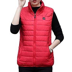 Arvin87Lyly Damen Winter Beheizte Weste, Intelligente Aufladung Heizung Stehkragen Daunenweste aus Baumwolle, Rot Wasserdichte Ärmellose Jacke für Frauen