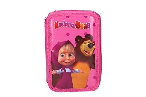 Astuccio scuola masha & orso rosa triplo 3 zip completo di accessori vz156