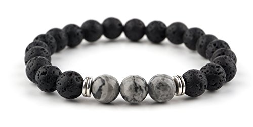 GOOD.designs Energiearmband aus Lavastein Naturperlen, Chakra Armband mit marmorierten Perlen in verschiedenen Farben (Lava_Grau)